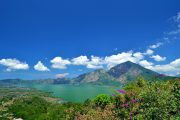 view lake batur and bali volcanoes